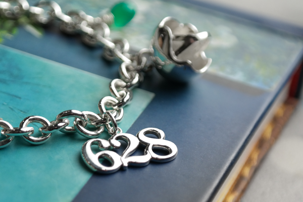 sterling silver custom skate number charm bracelet