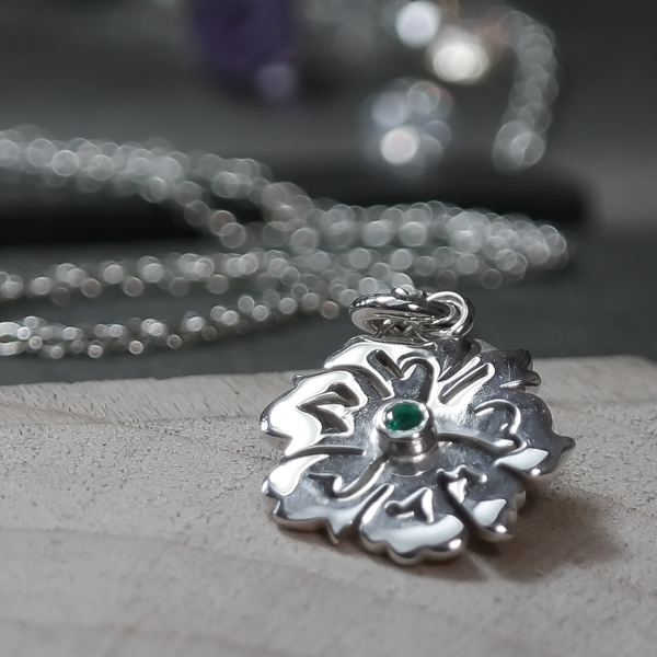 sterling silver emerald flower charm necklace