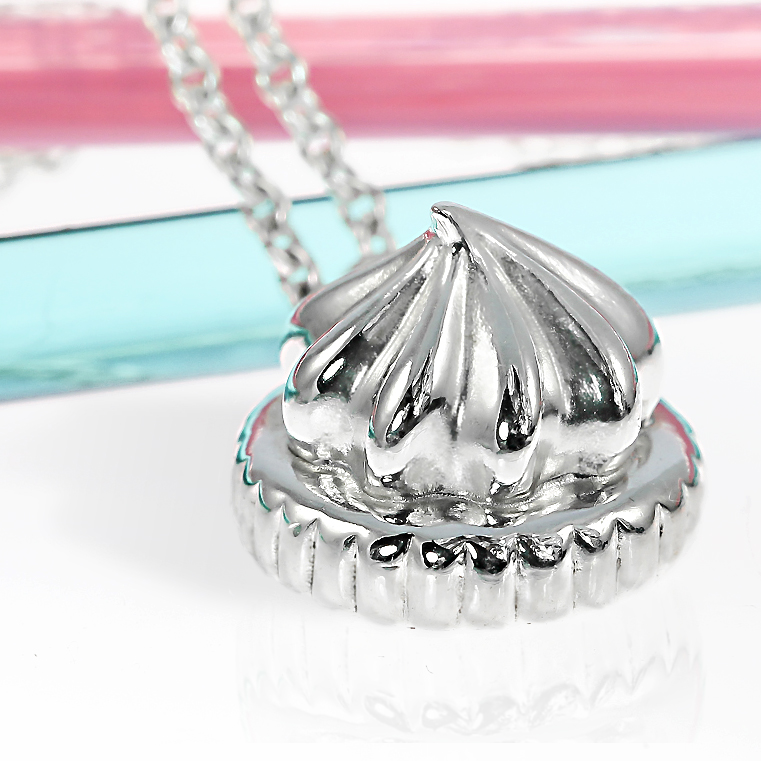 Sterling silver large iced gem biscuit necklace