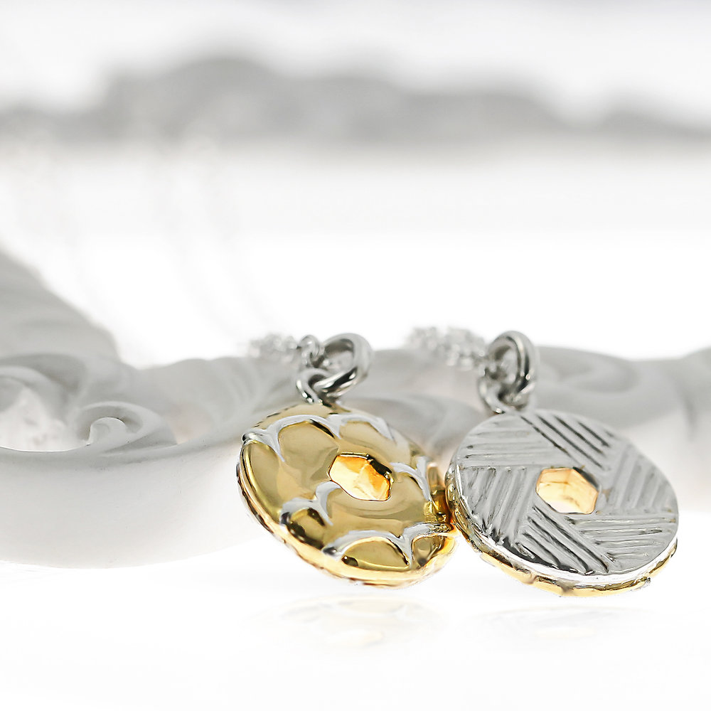 Silver and gold party ring biscuit necklace handmade