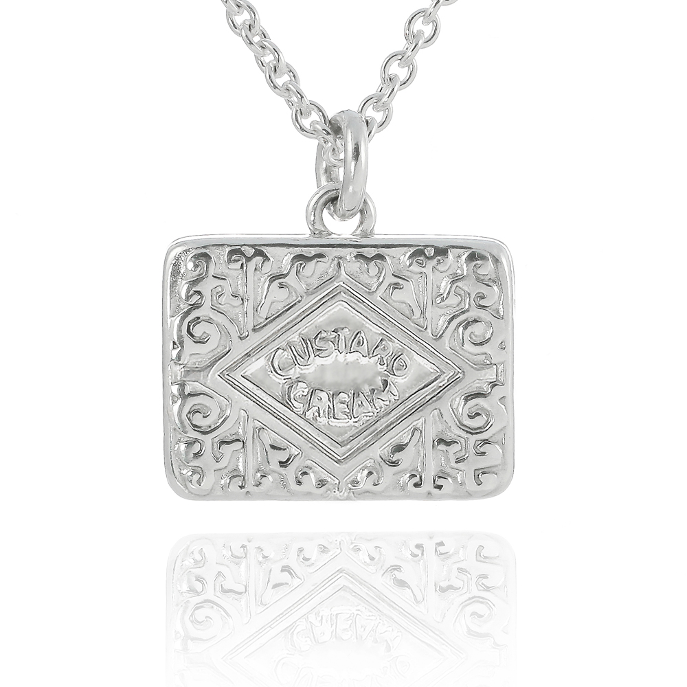 Sterling silver large custard solid custard cream necklace