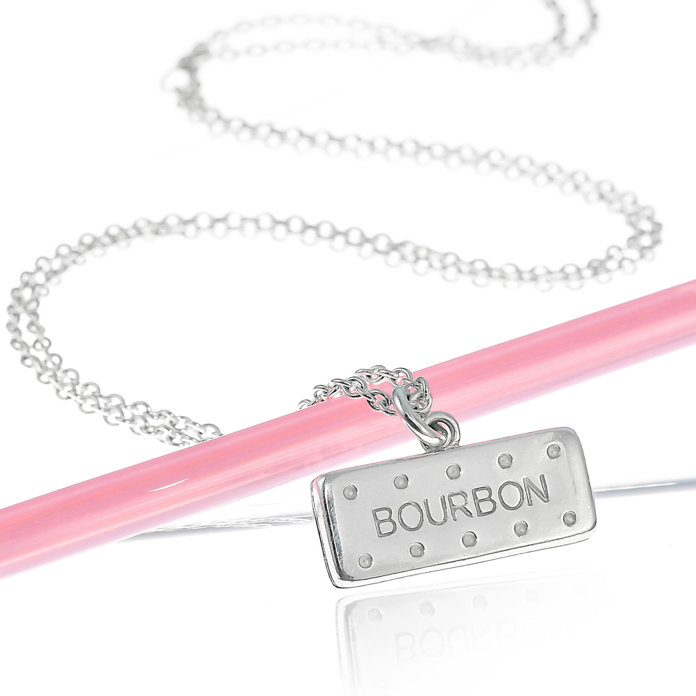 Large solid sterling silver bourbon biscuit necklace