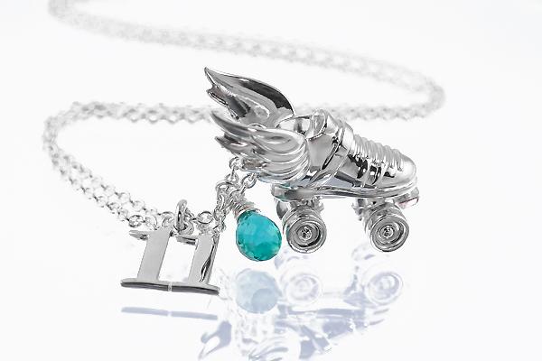 Silver custom roller derby necklace skate number