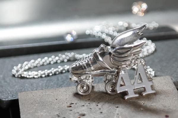 Silver custom roller derby number necklace