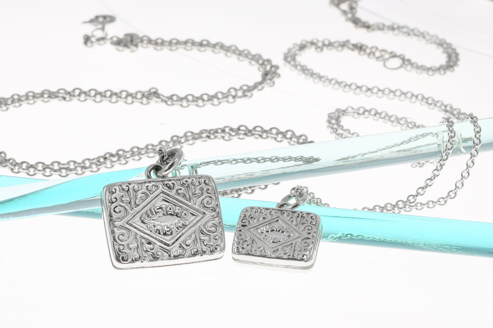 Sterling silver custard cream large biscuit necklace
