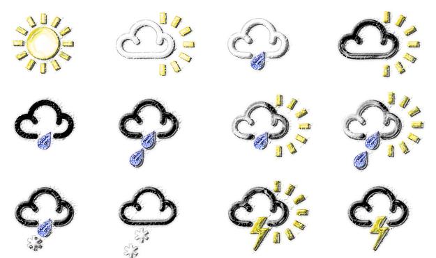 Classic BBC weather symbols sketch