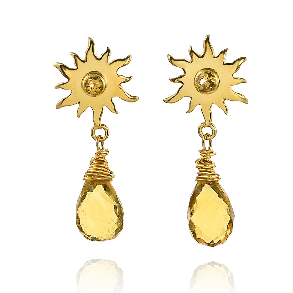 Gold vermeil sunshine drop British weather earrings