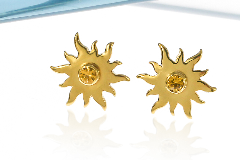 Gold vermeil sunshine earrings with citrine gemstones