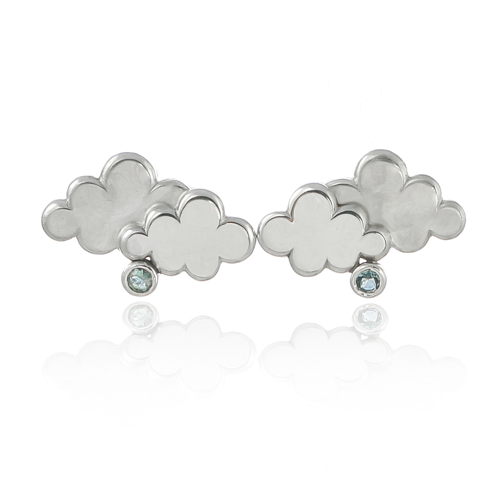Sterling silver cloud and aquamarine rain earring stud