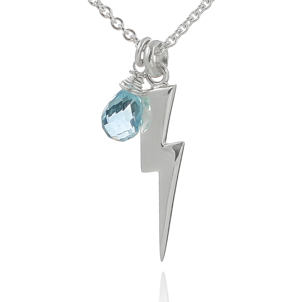 Sterling silver lightning bolt necklace with blue topaz raindrop