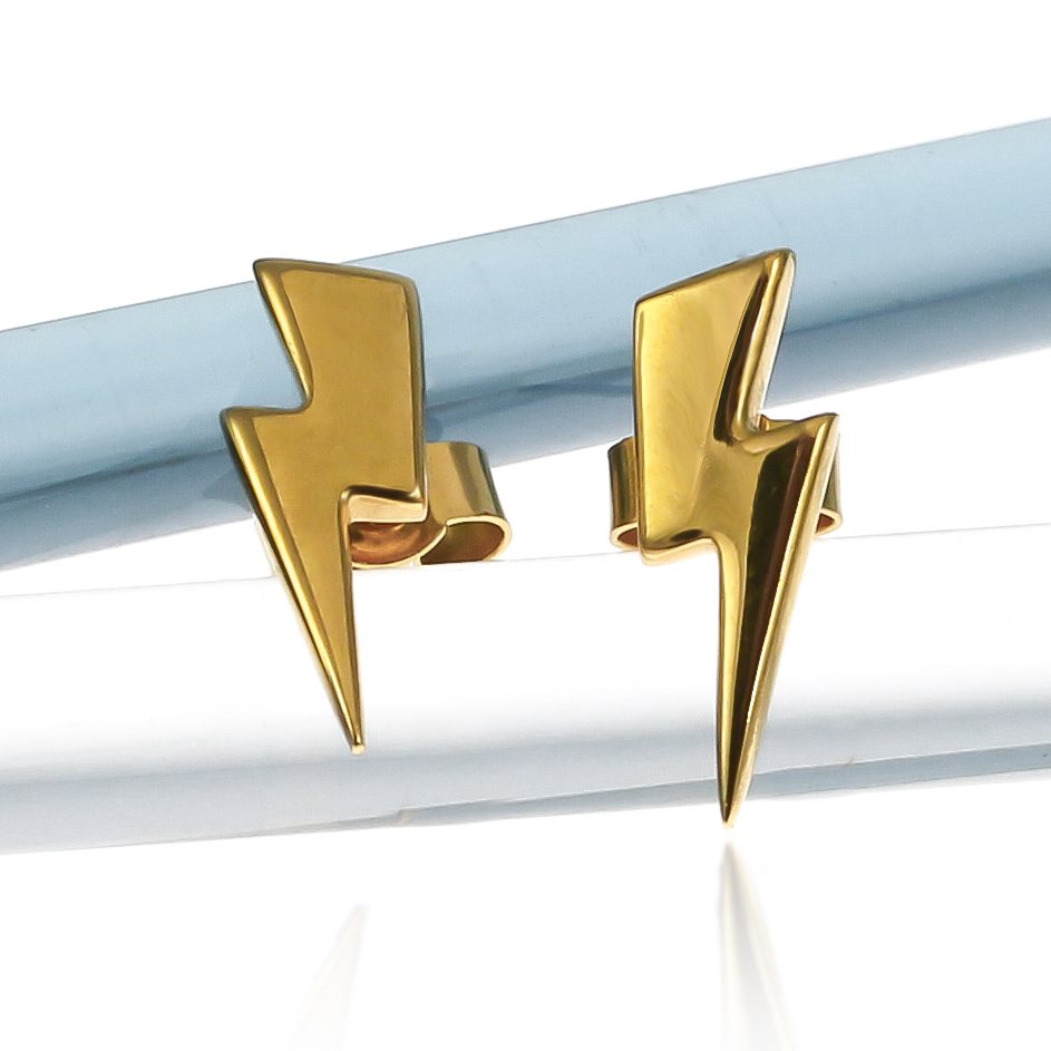 Sterling silver small lightning bolt stud earrings