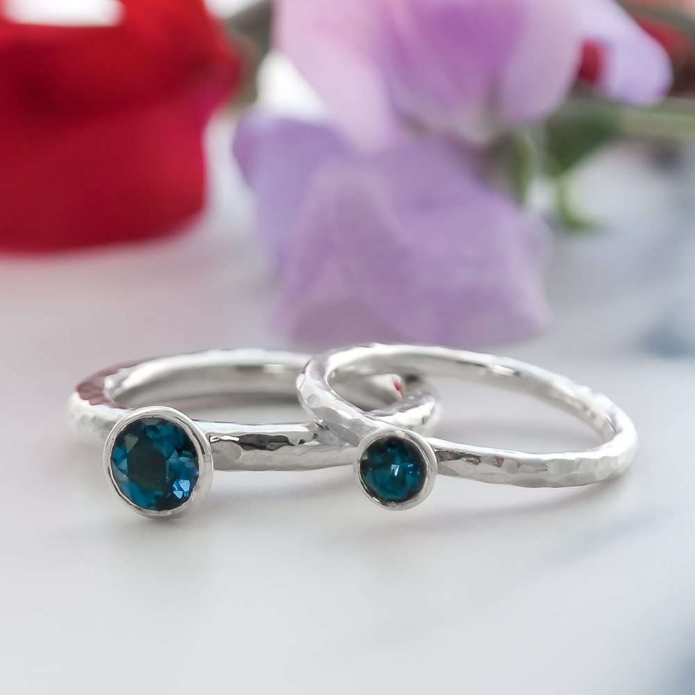 Hammered ethical eco-silver sterling and blue topaz gemstone engagement rin