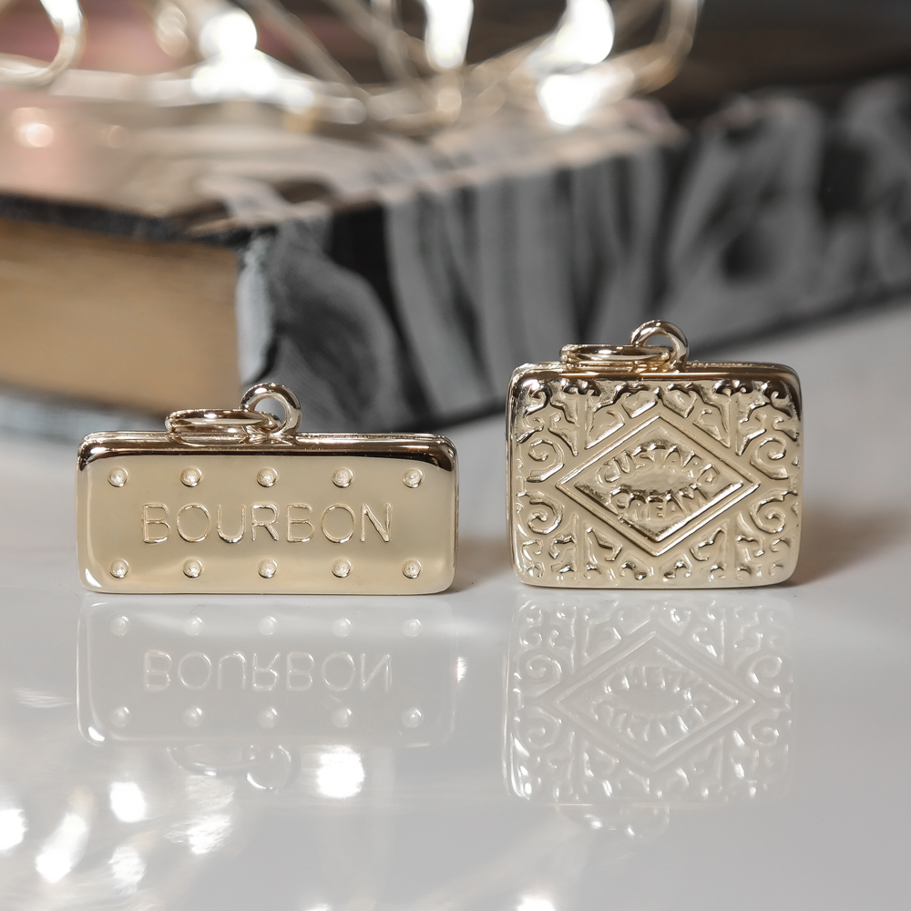 Solid gold custard cream bourbon biscuit charms