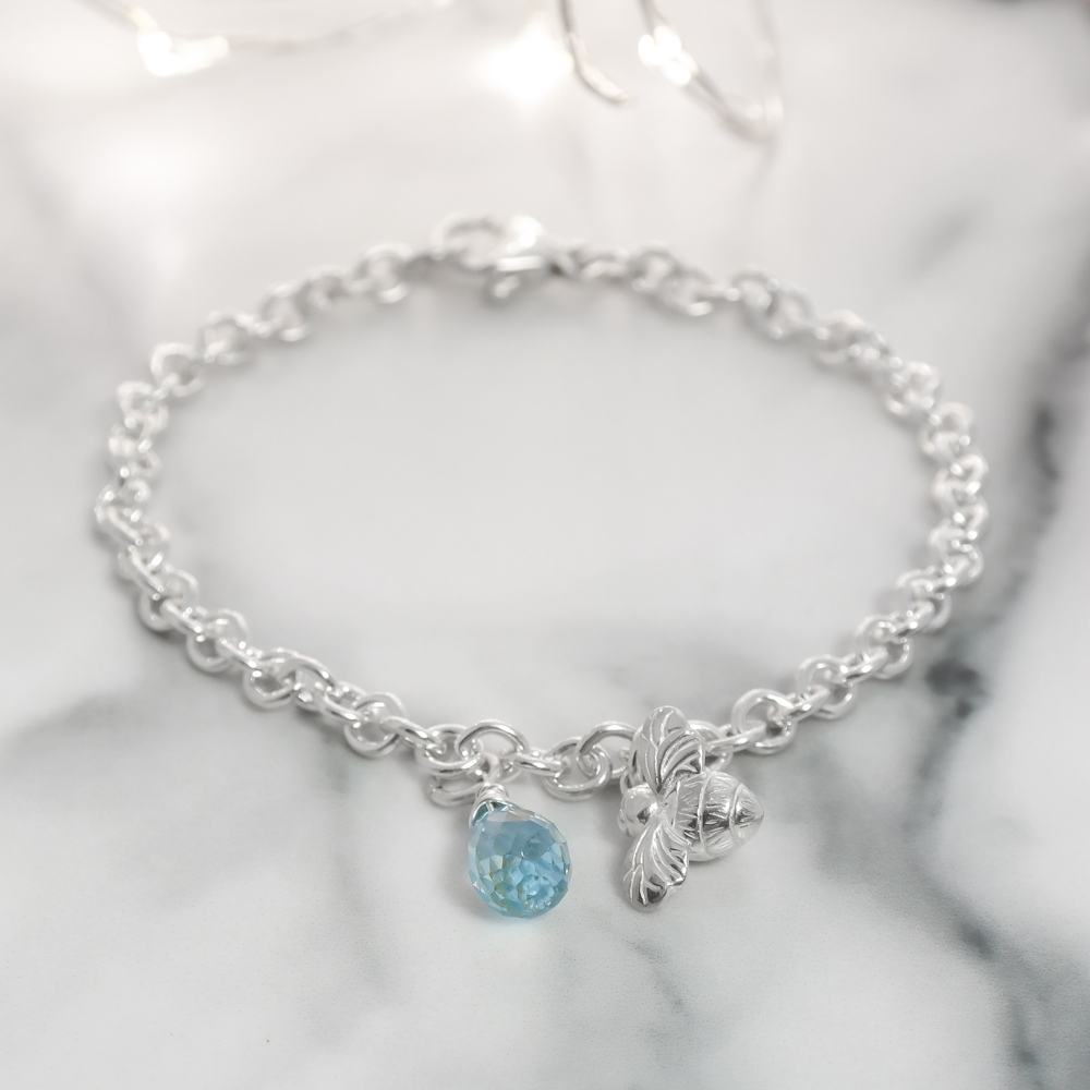 Sterling silver mini bee bracelet with gemstone