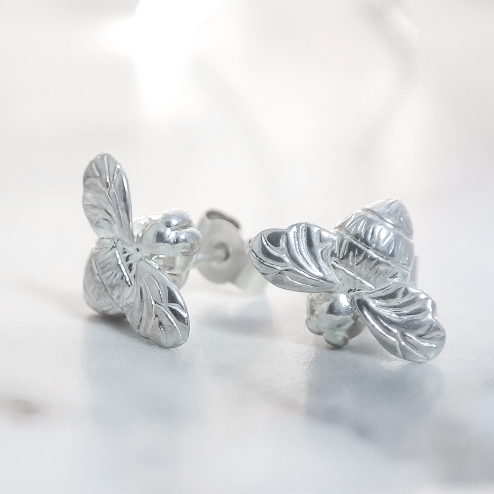 Sterling eco silver mini bee earrings