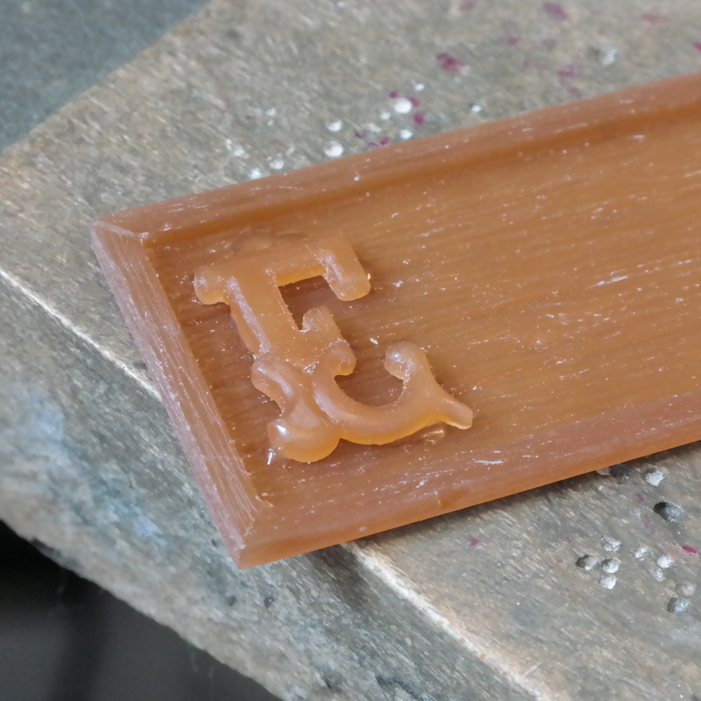 Wax carving jewellery lettering