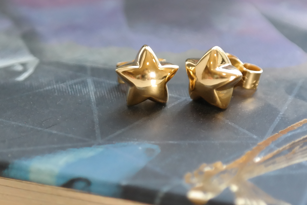 Gold eco silver and vermeil chubby star earring stud