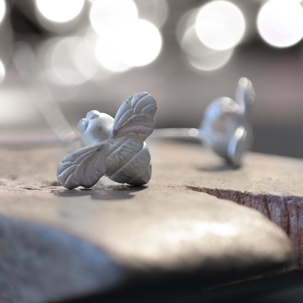 Silver eco bee earrings work in progress