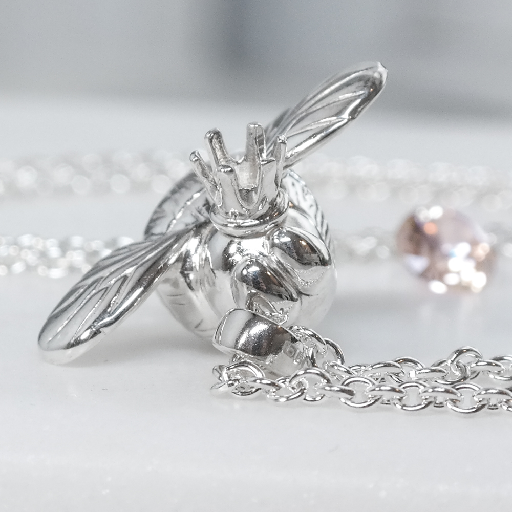 Sterling eco silver queen bee necklace London designer