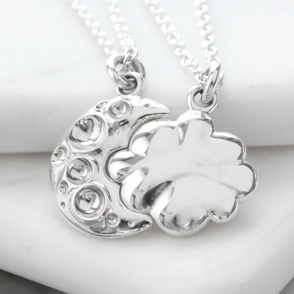 Sterling silver cloud and moon interlocking friendship necklace