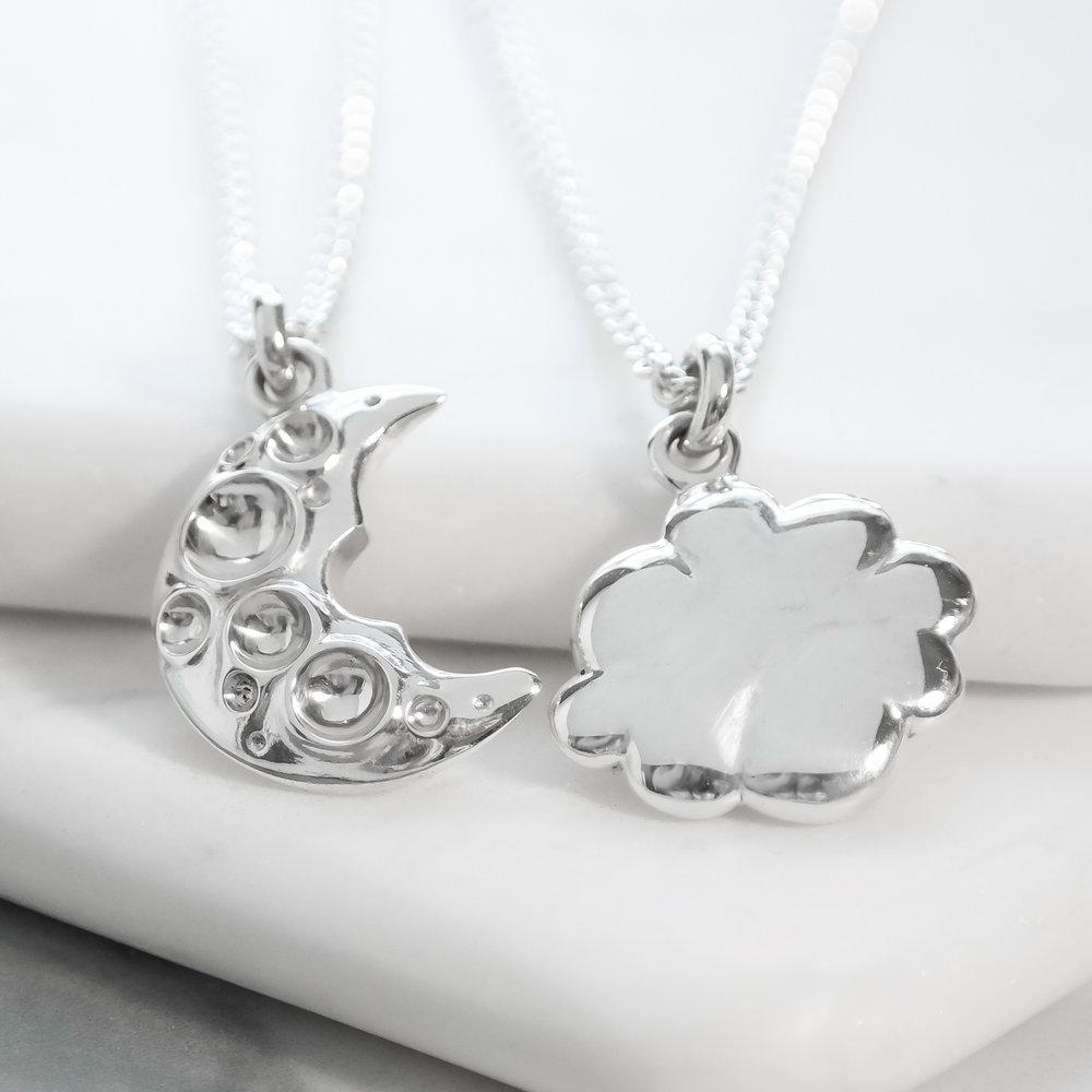 Sterling silver interlocking friendship necklace cloud moon sist