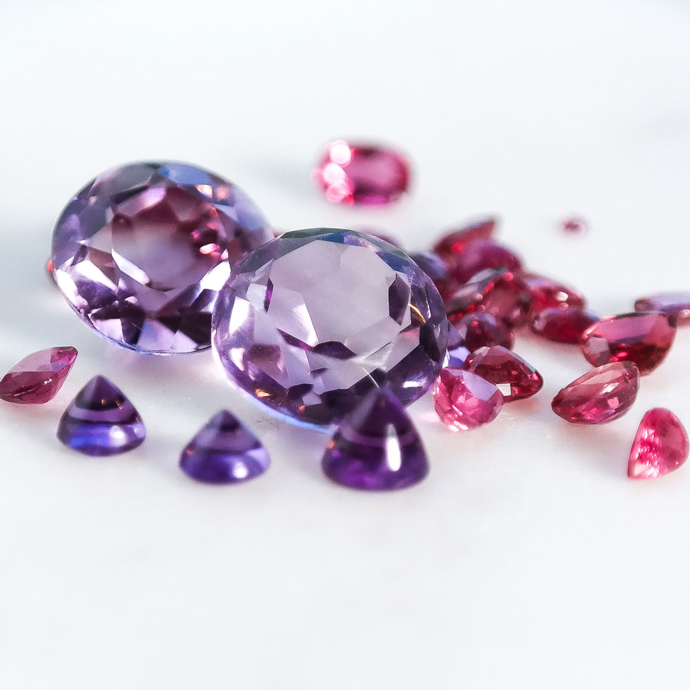 Amethyst and ruby loose gemstones