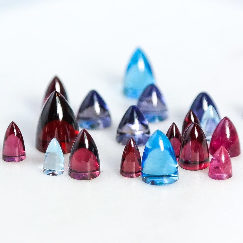 Loose bullet semi precious gemstones