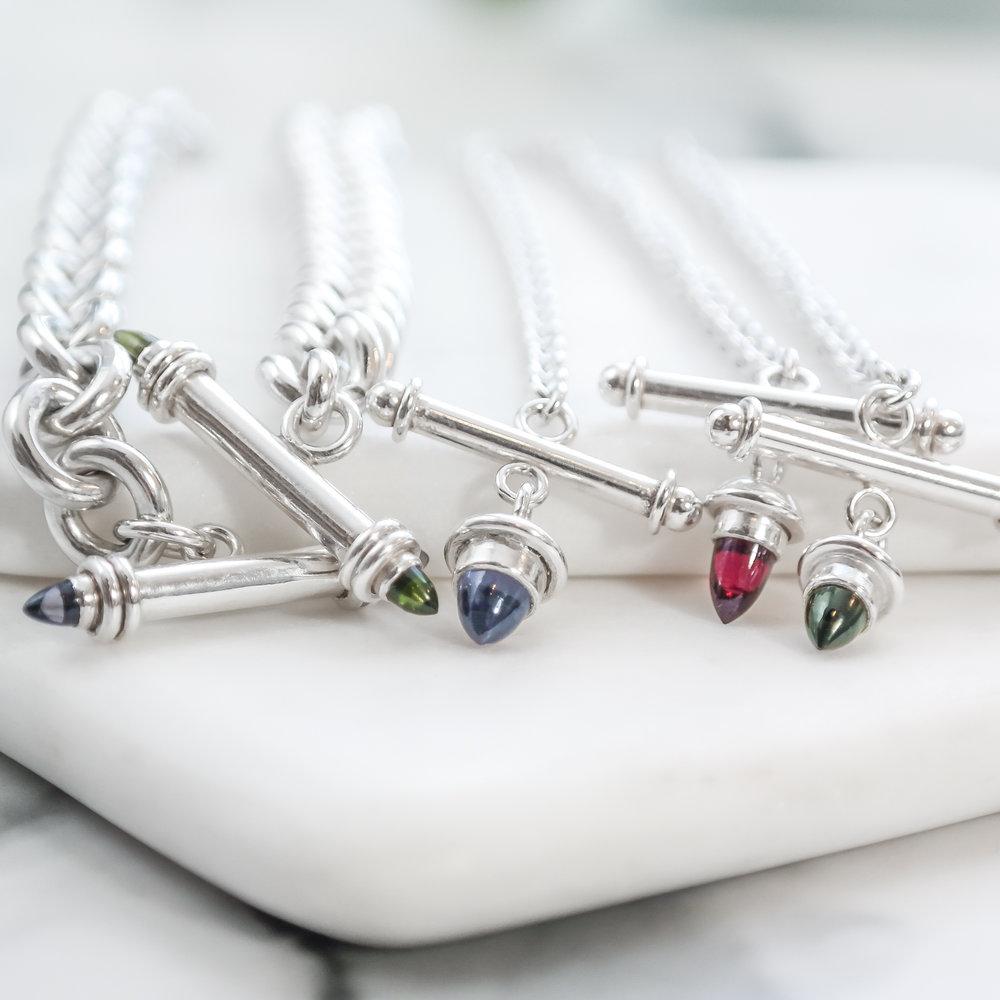 Sterling silver bullet gemstone toggle necklace