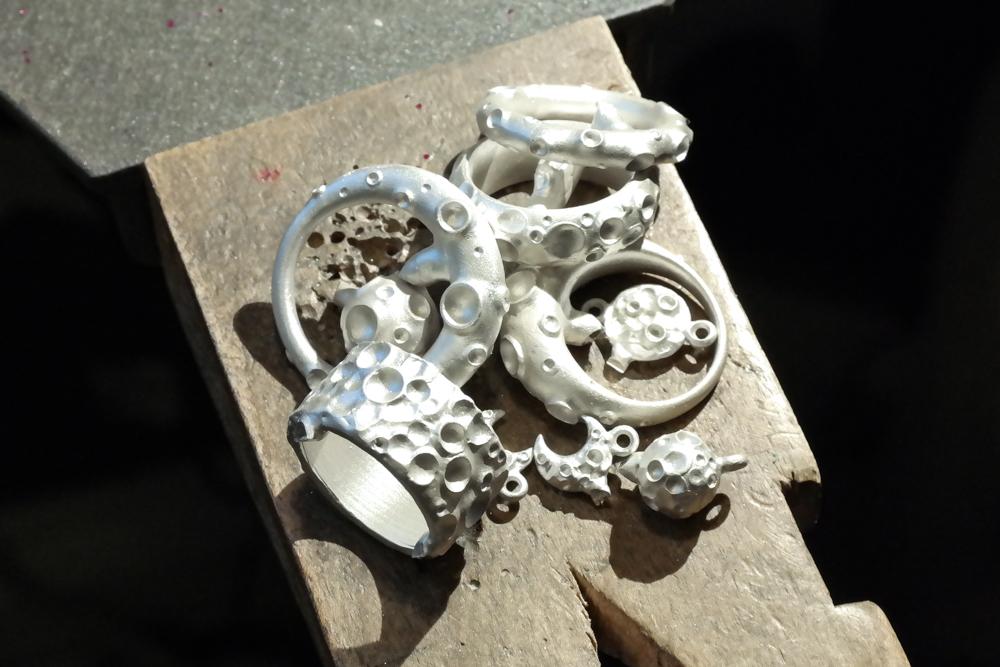 Silver moon jewellery rough castings work in progress
