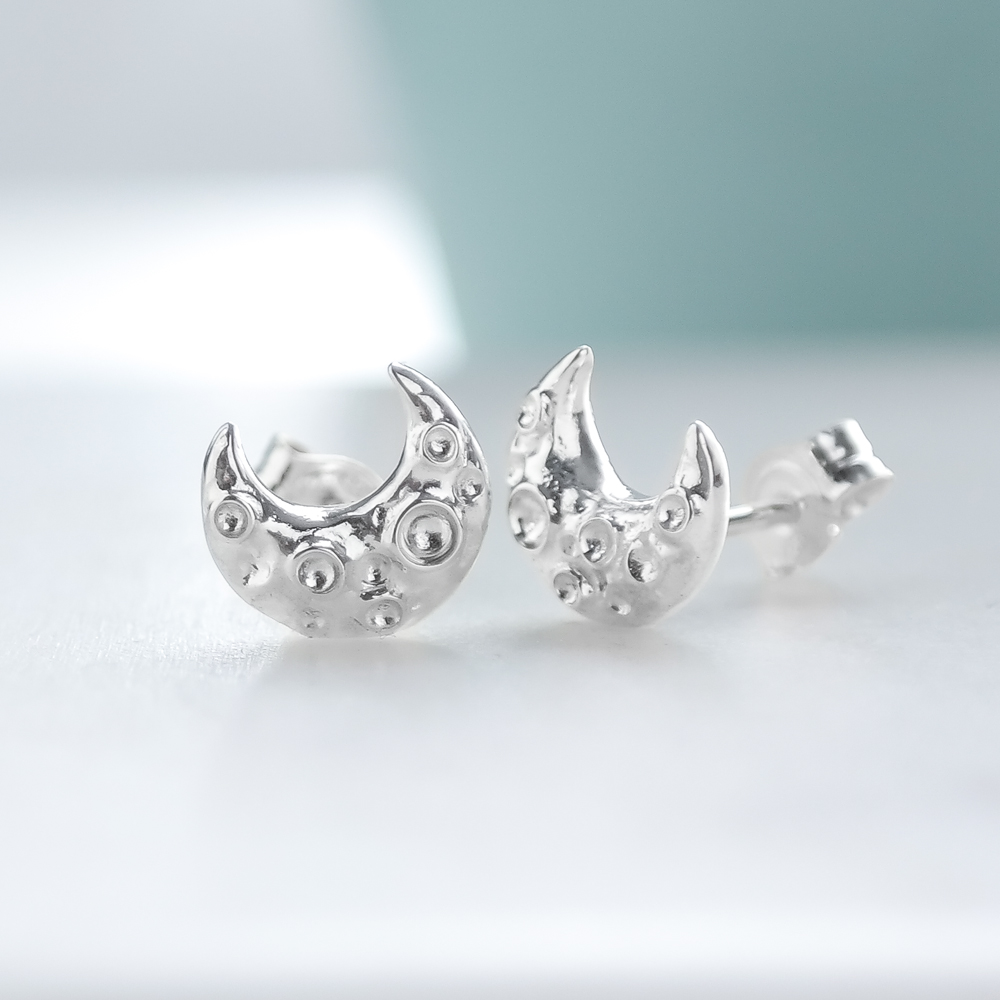 Sterling silver ethical mini crescent moon stud earrings