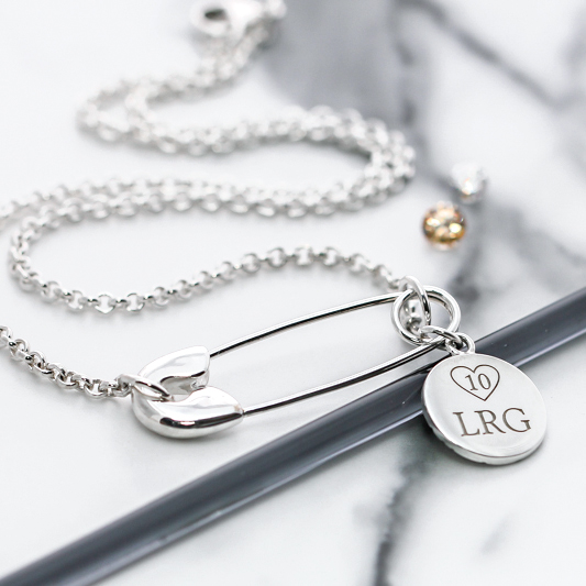 Vivienne Westwood inspired silver safety pin custom necklace