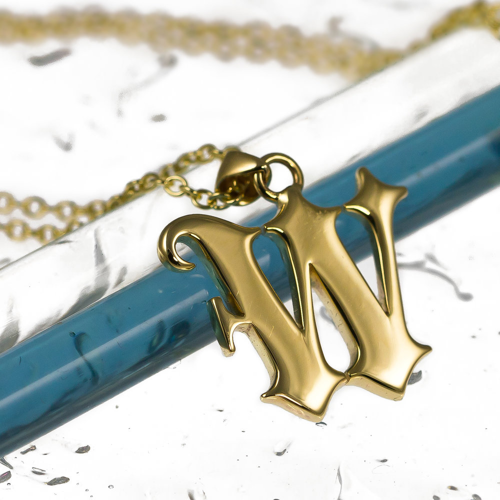 Custom solid gold handmade baroque initial necklace