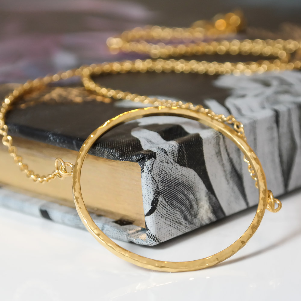 Eco-gold vermeil handmade goddess circle necklace