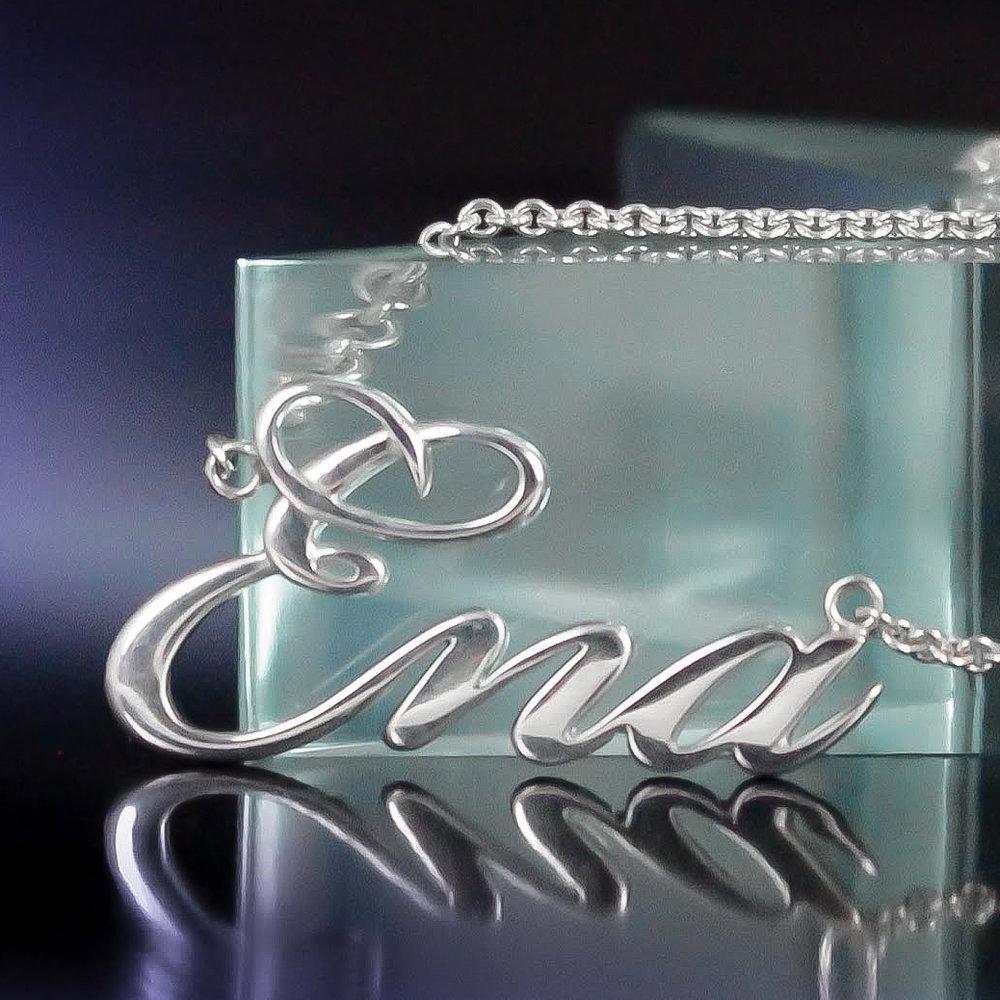 Silver custom roller derby name necklace