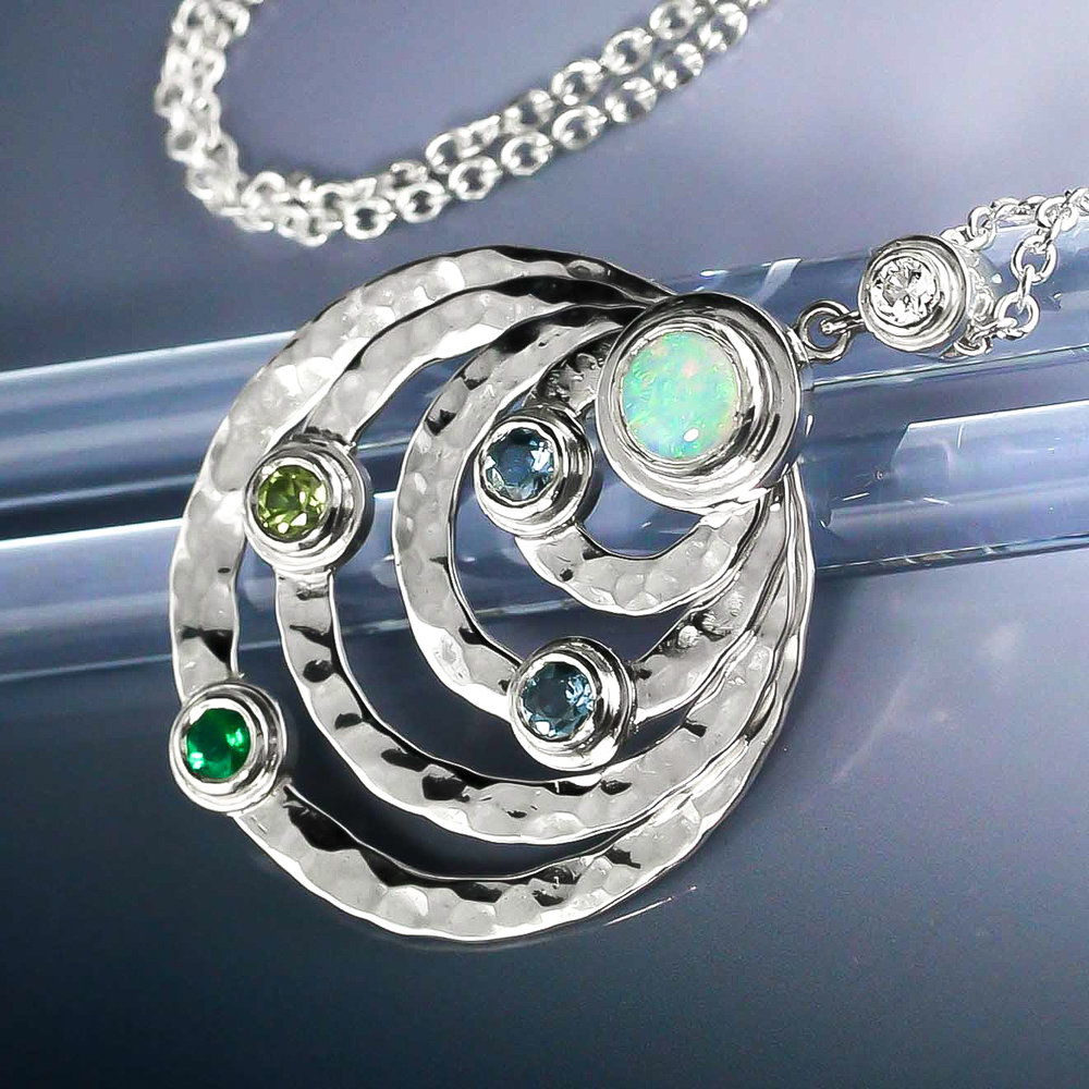 Custom 60th birthday necklace eco silver with ethical birthstones and diamond