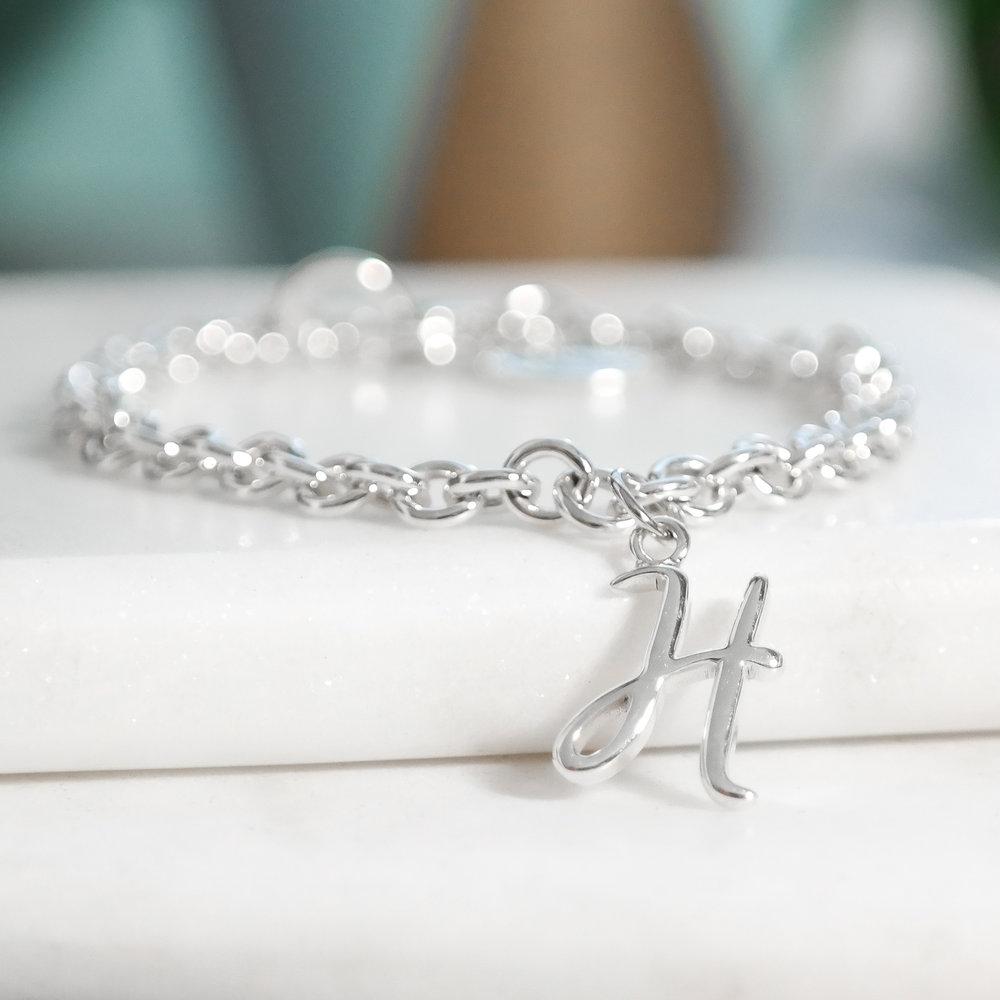Handmade sterling silver custom font initial charm bracelet