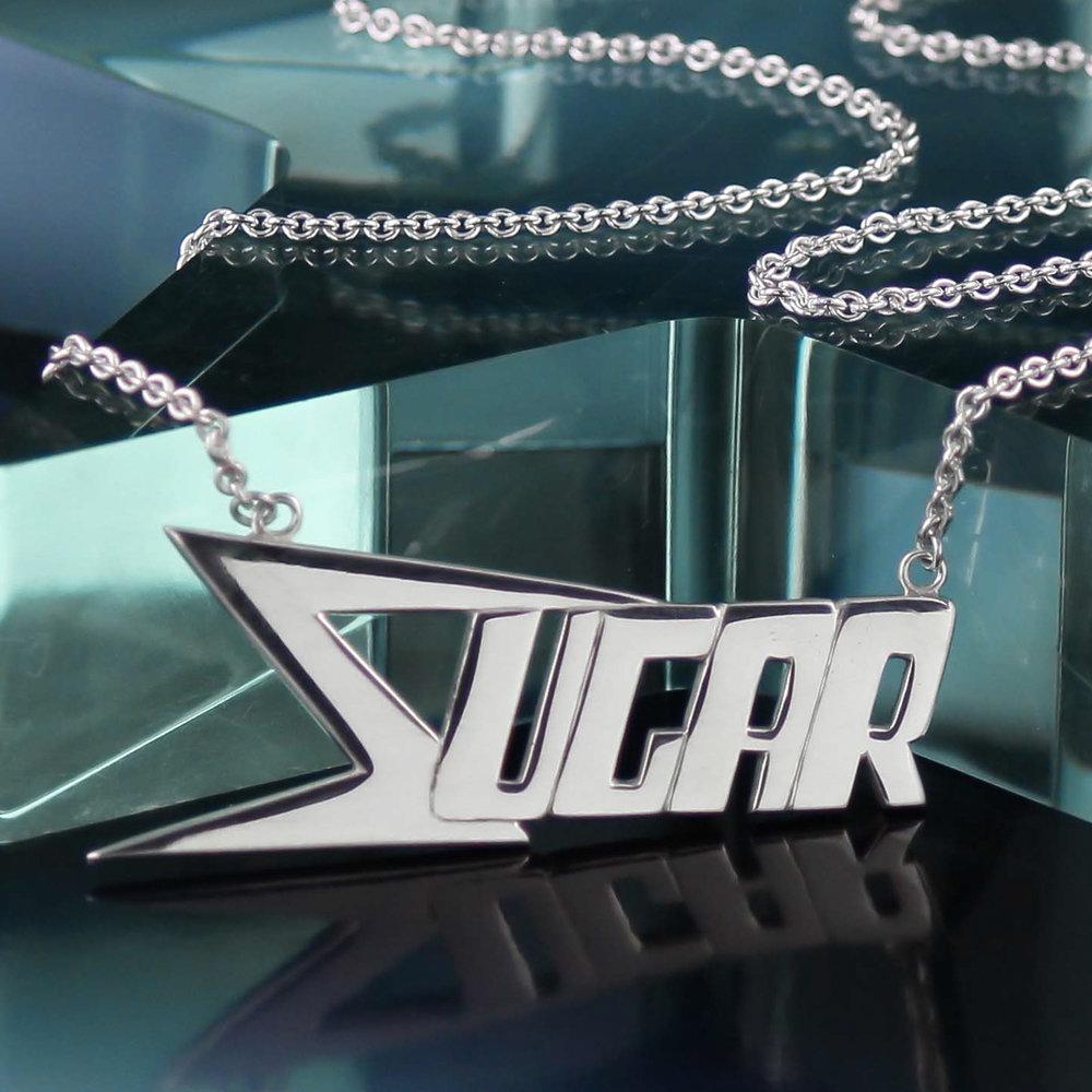 Custom silver roller derby skate name necklace