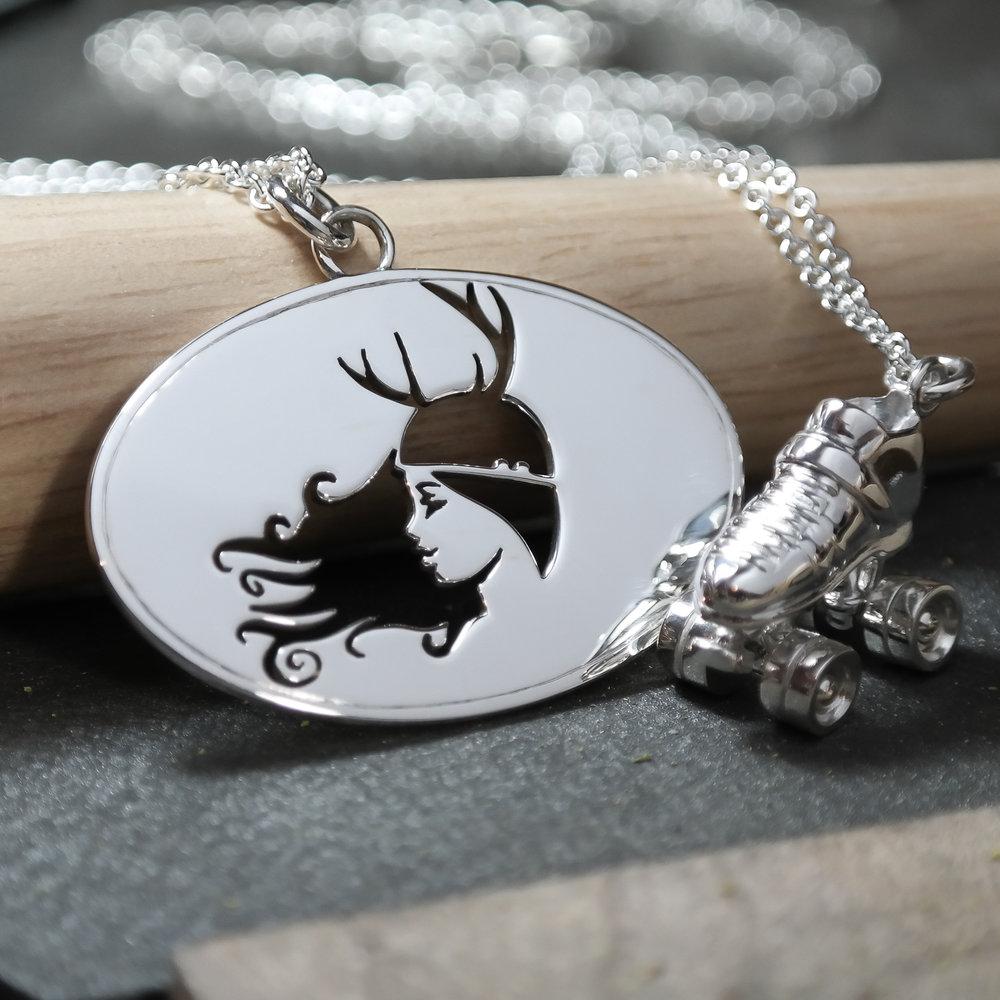 Sterling silver custom roller derby skate logo necklace