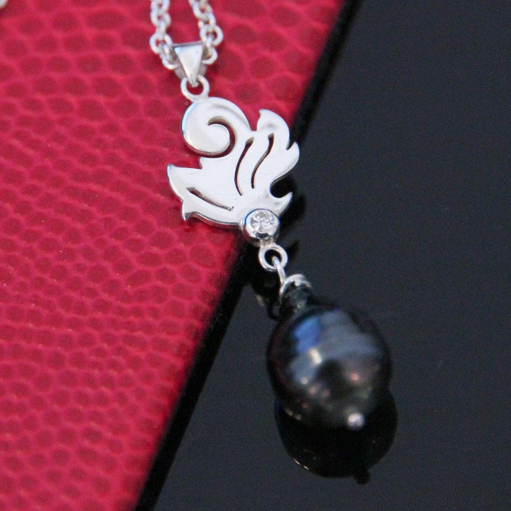 Silver diamond baroque pearl necklace handmade