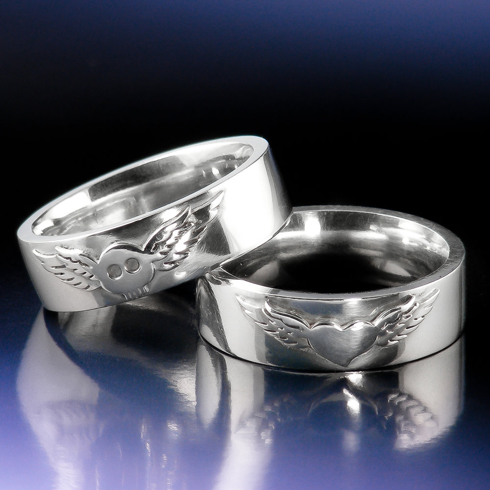 Sterling eco silver skull and heart tattoo wedding rings