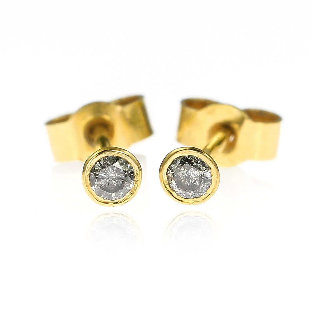 6c8b9624da894c Mini Gold and Grey Diamond Stud Earrings - 2.5mm — Lauren Grace ...