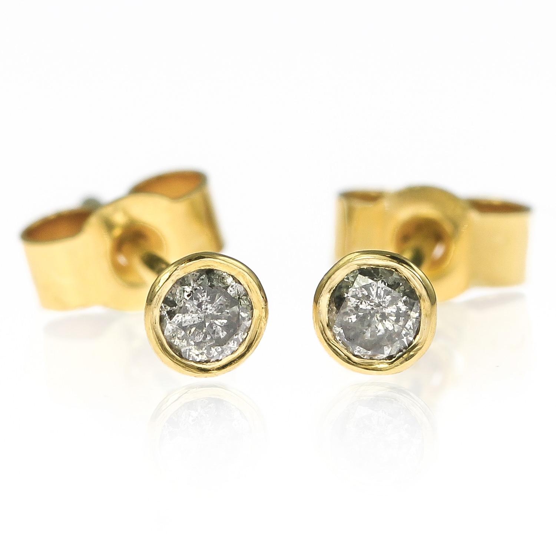0a1160ec6fbb9 Small 18ct Gold and Grey Diamond Stud Earrings - 2.7mm — Lauren Grace  Jewellery