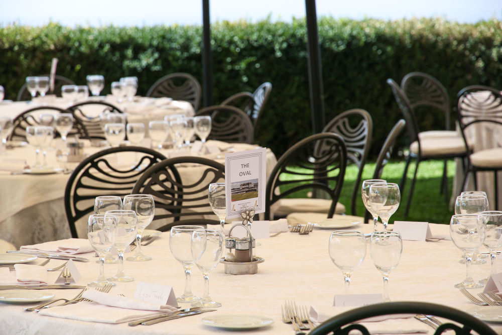 Villa Palazzola gardens decorated for wedding