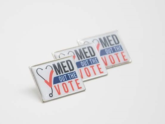 Med Out the Vote pins - Butterfly catch back, bulk pricing available