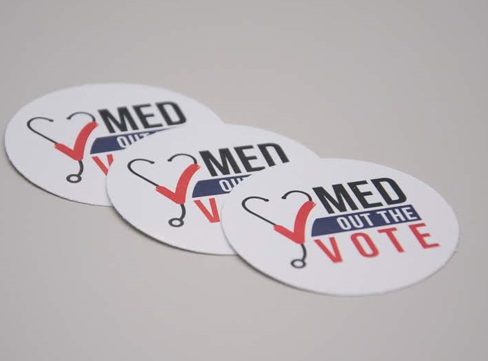 Med Out the Vote stickers - Gloss front, bulk pricing available