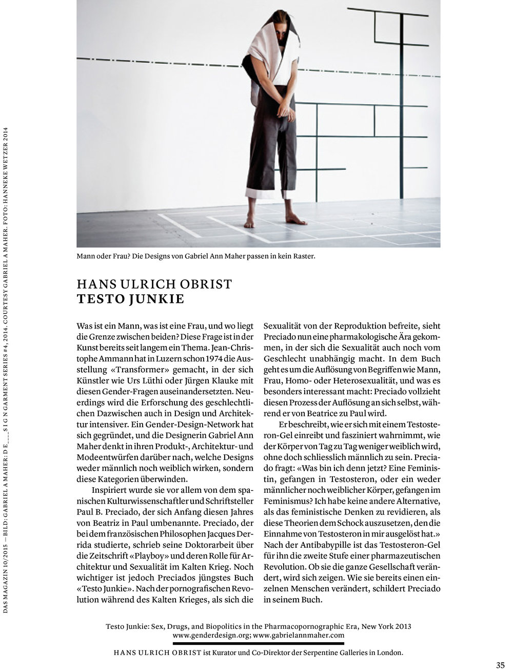 Words by Hans Ulrich Obrist  Published 2015, in print,  Das Magazine