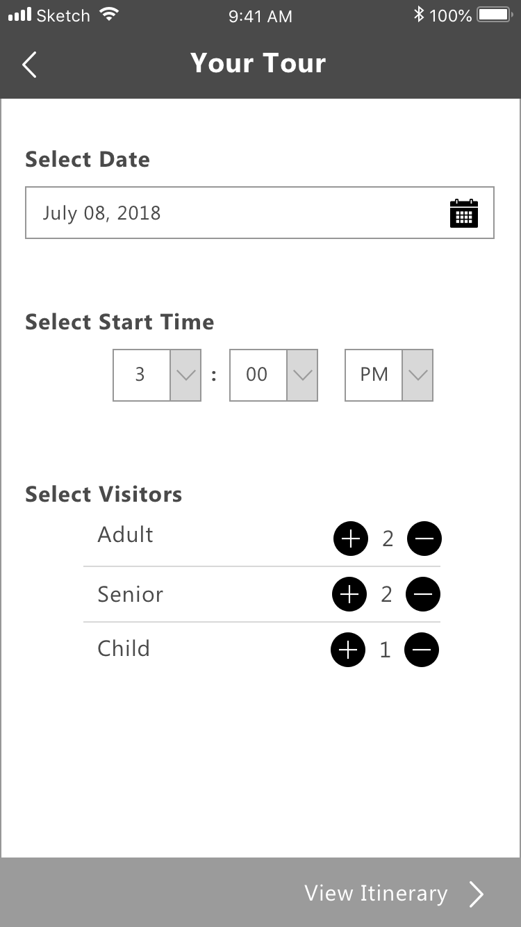 Tour Details - Users can add the information regarding their custom tour which includes: time and date, and the type and number of people in their group. Giving the option for group visitors is implemented to calculate the fees for tickets.