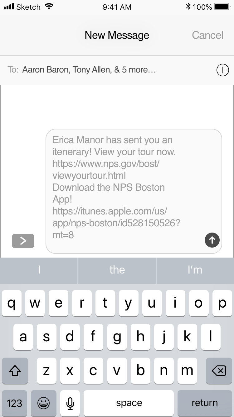 SMS Text Sharing - Using iOS guidelines, I was able to recreate the iMessage screen with auto generated text that would be shared with members in the group via group text.