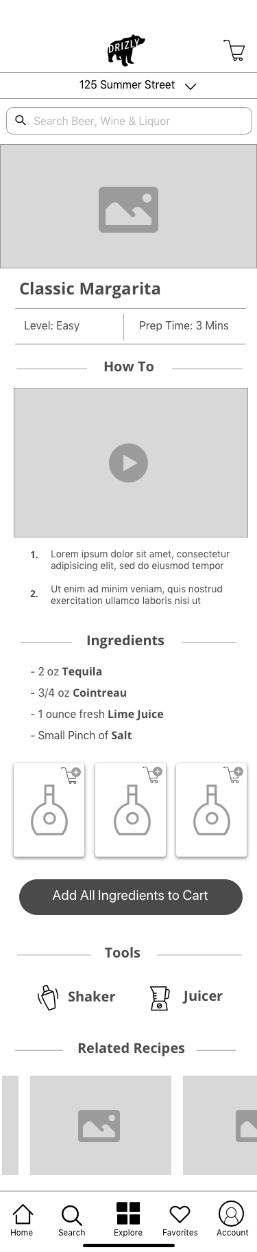 Single Recipe Page - The single recipes page gives the user easy instructions with a video how-to along with the ability to browse ingredients and purchase them directly from the page.