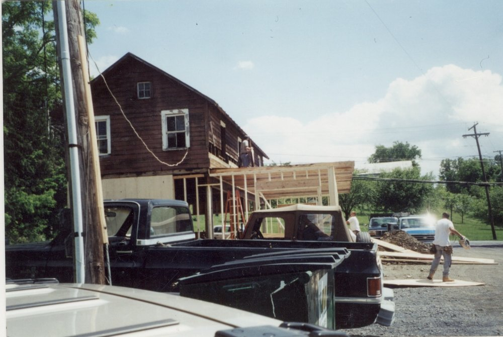 As the business expanded, there was a need to expand the space as well. This is the framing of the expansion of the 'barn' which would eventually turn into the Apuzzo Kitchens showroom.